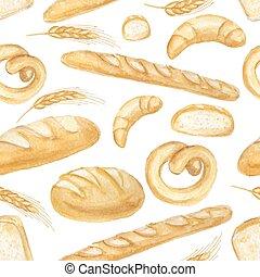 set., seamless, mão, aquarela, padrão, desenhado, pão