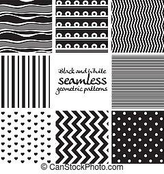 set, seamless, modelli, 2, nero, bianco, geometrico