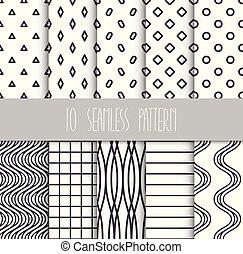set, seamless, motieven, achtergrond, geometrisch, witte
