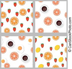 Set seamless pattern  in flat style.