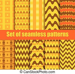 Set seamless pattern with geometric shapes. Geometric figures in the background. Vector illustration.