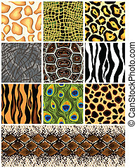 Set seamless patterns animals. Vector