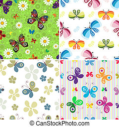 Set seamless patterns - Collection colorful seamless...