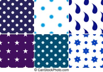 Set seamless patterns with blur paisley and polka dots