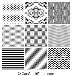 set., seamless, temný grafické pozadí, neposkvrněný, geometrický