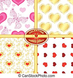 Set seamless valentine patterns