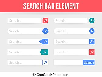 Set Search bar vector element design, set of search boxes ui template isolated on blue background. Vector stock illustration.