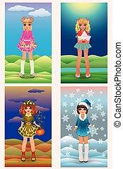 Set seasons little girls, vector