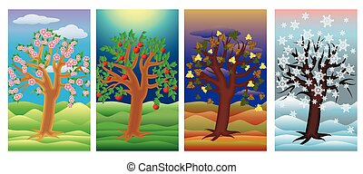 Set seasons tree banners, vector illustration