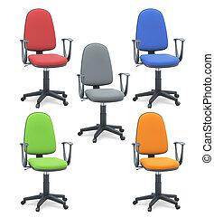 set, sedie ufficio, isolato, fondo., bianco