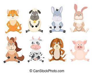 set, seduta, illustrazione, animals., vettore, cartone animato