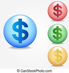 set, segno dollaro, icona