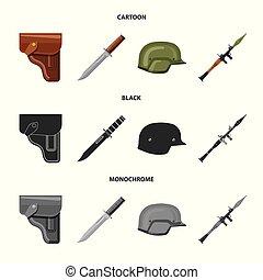 set, segno., esercito, arma, web., fucile, illustrazione, vettore, simbolo, casato