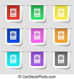 set, segno., etichette, moderno, variopinto, vettore, passaporto, icona, tuo, design.