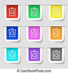 set, segno., etichette, secchio, moderno, variopinto, vettore, icona, tuo, design.