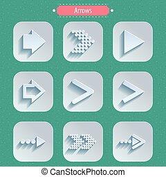 set, segno, freccia, icone