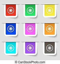 set, segno., ruota dentata, etichette, moderno, variopinto, vettore, icona, tuo, design.