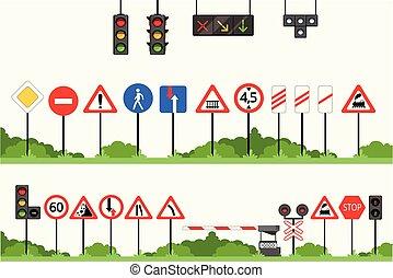 set, segno, vettore, traffico firma, illustrazioni, vario, strada