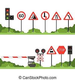 set, segno, vettore, vario, segni, illustrazioni, traffico, strada
