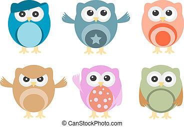 set, sei, emozioni, gufi, vario, cartone animato