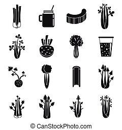 set, selderij, stijl, iconen, eenvoudig, voedingsmiddelen