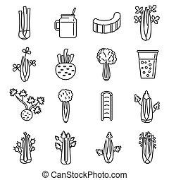 set, selderij, stijl, schets, iconen, slaatje