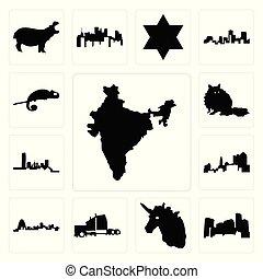 set, semi, icone, minnesota, camaleonte, india, oklahoma, camion, unicorno, missouri, procione, testa, ohio