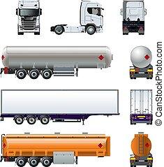set, semi, mockup, isolato, realistico, vettore, camion, ...