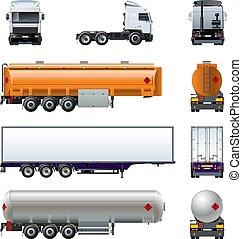 set, semi, mockup, vrijstaand, realistisch, vector, vrachtwagen, witte