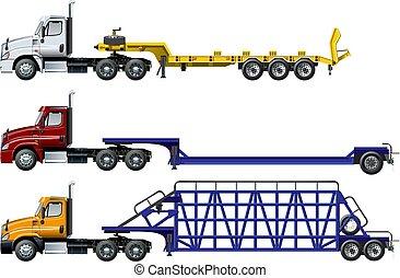set, semi, vrachtwagens, vrijstaand, vector, witte