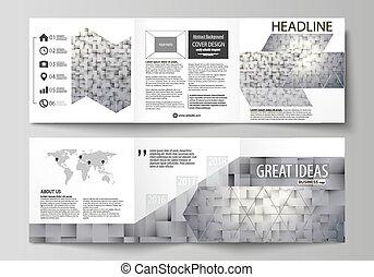 set, semplice, astratto, squadre, piega, disegno quadrato, texture., modello, style., vector., mascherine, facile, affari, editable, disposizione, geometrico, coperchio, fondo, tri, grigio, fatto, brochures., volantino