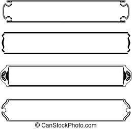set, semplice, cornice, nero, bandiere, bordo
