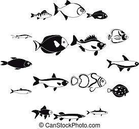 set, semplice, fish, stile, icone