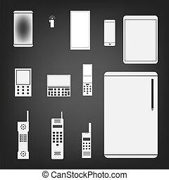 set, semplice, illustrazione, telefono, vettore, icona