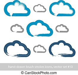 set, semplice, nuvola, meteorologia, icone, isolato, collezione, previsione, simboli, fondo., colpo, vettore, spazzola, tempo, bianco, segni, disegno, hand-drawn, porge-dipinto