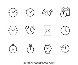set, semplice, relativo, magro, linea tempo, icona
