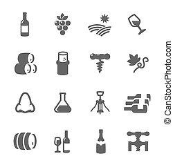 set, semplice, relativo, produzione, icona, vino