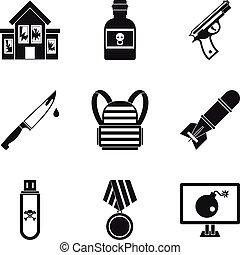 set, semplice, stile, ammutinamento, icone
