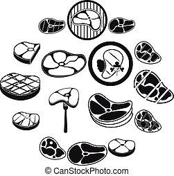 set, semplice, stile, bistecca, icone