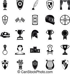 set, semplice, stile, generosità, icone