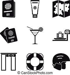 set, semplice, stile, iato, icone