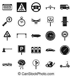 set, semplice, stile, movimento, icone
