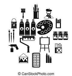 set, semplice, stile, pittura, icone