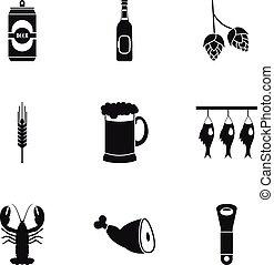 set, semplice, stile, pub, icone
