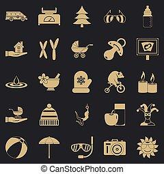 set, semplice, stile, rilassamento, icone