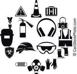 set, semplice, stile, sicurezza, icone