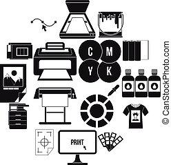 set, semplice, stile, stampa, icone