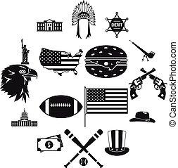 set, semplice, stile, stati uniti, icone