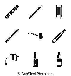 set, semplice, stile, tabacco, icone