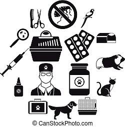 set, semplice, stile, veterinario, icone